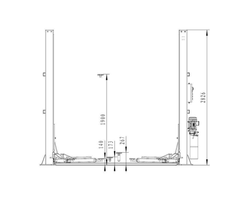 2-statņu autopacēlājs, 4t (uzcelš. augstums 0.11 - 1.9m)