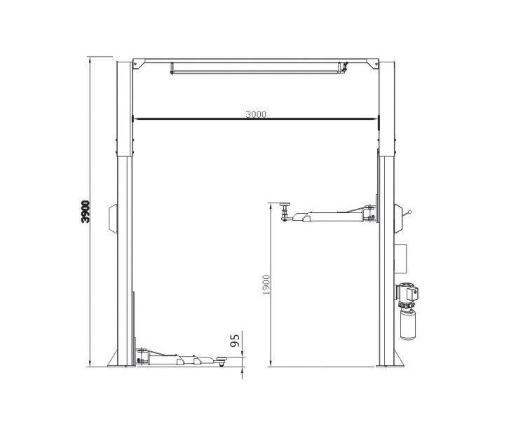 2-statņu autopacēlājs, 4.5t (uzcelš. augst. 0.095 - 1.9m)