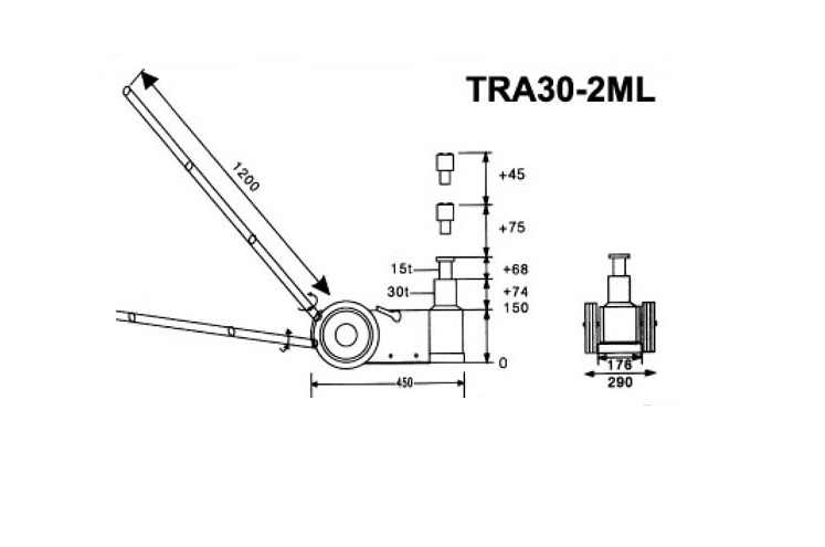 Pneimohidrauliskais domkrats (30T-74mm/ 15T-68mm)