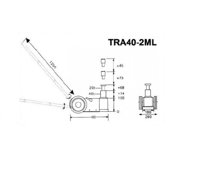 Pneimohidrauliskais domkrats (40T-74mm/20T-68mm)