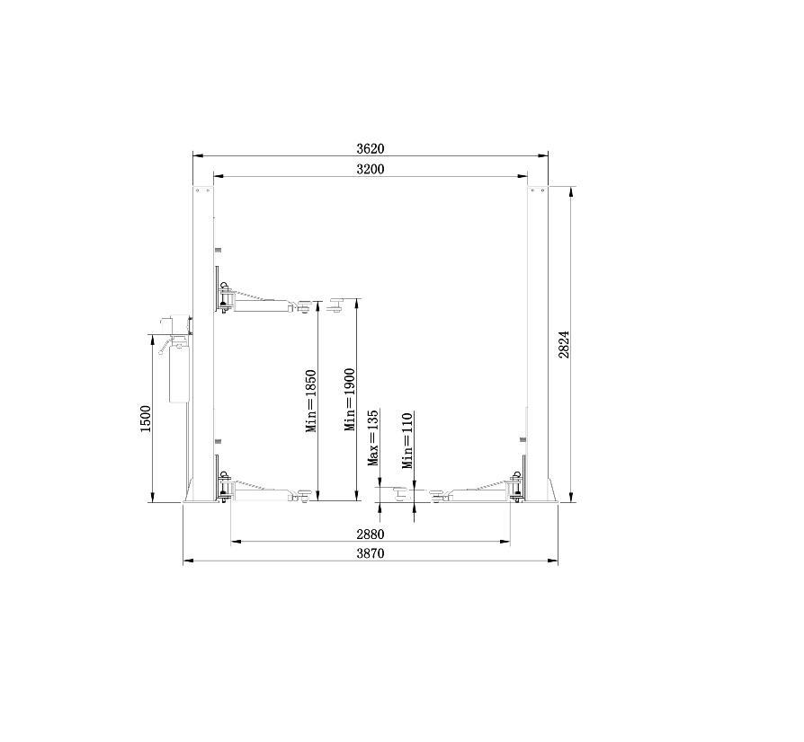 2-statņu autopacēlājs, 5t (uzcelš. augstums 0.1 - 1.9m)