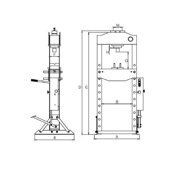 Hidrauliskā prese 30T (166-1126mm)